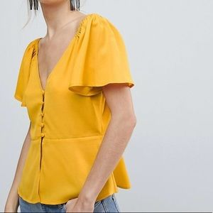5 for $25 ASOS Mustard Yellow Off Shoulder Blouse